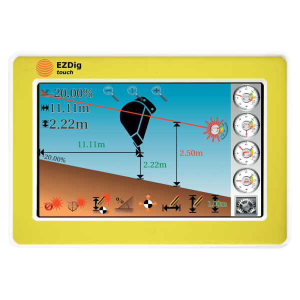 EzDig T 2D Excavator Guidance System Touch with 2D Sensor