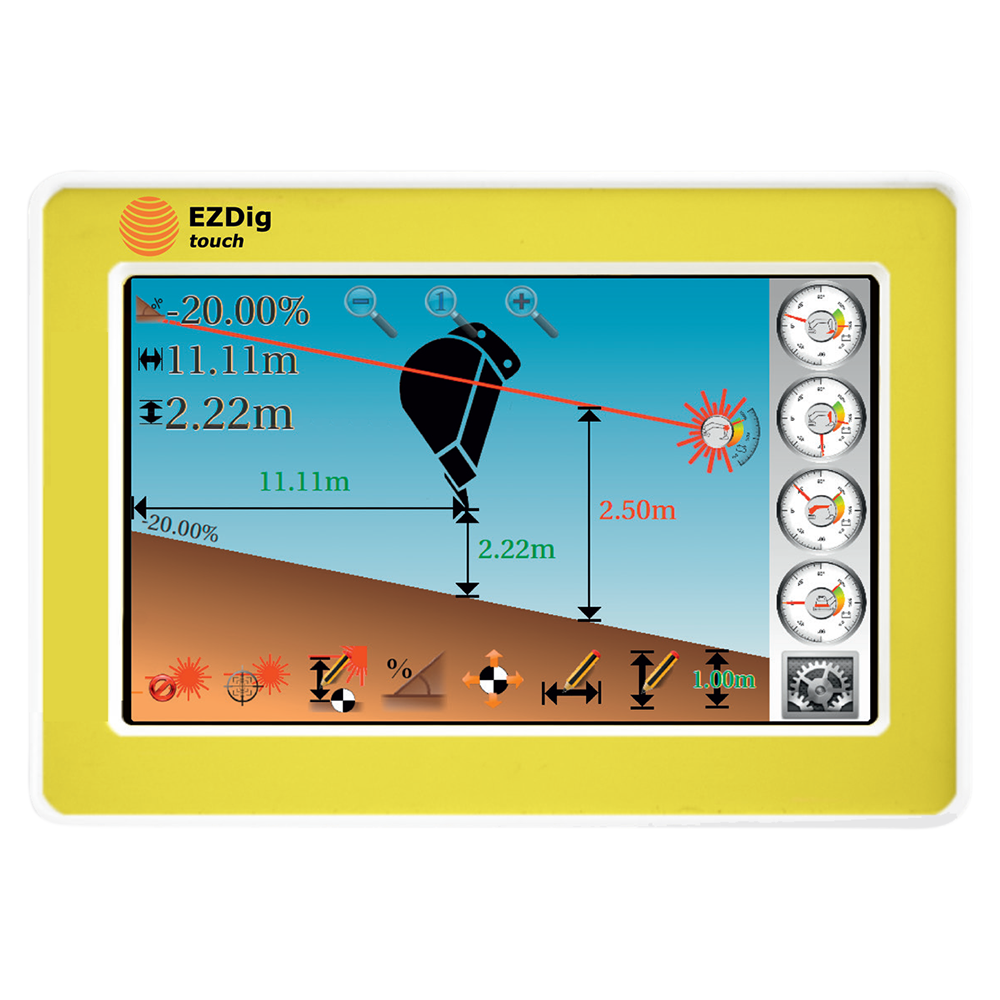 GeoMax EzDig T 2D Excavator Guidance System Touch with 2D Sensor