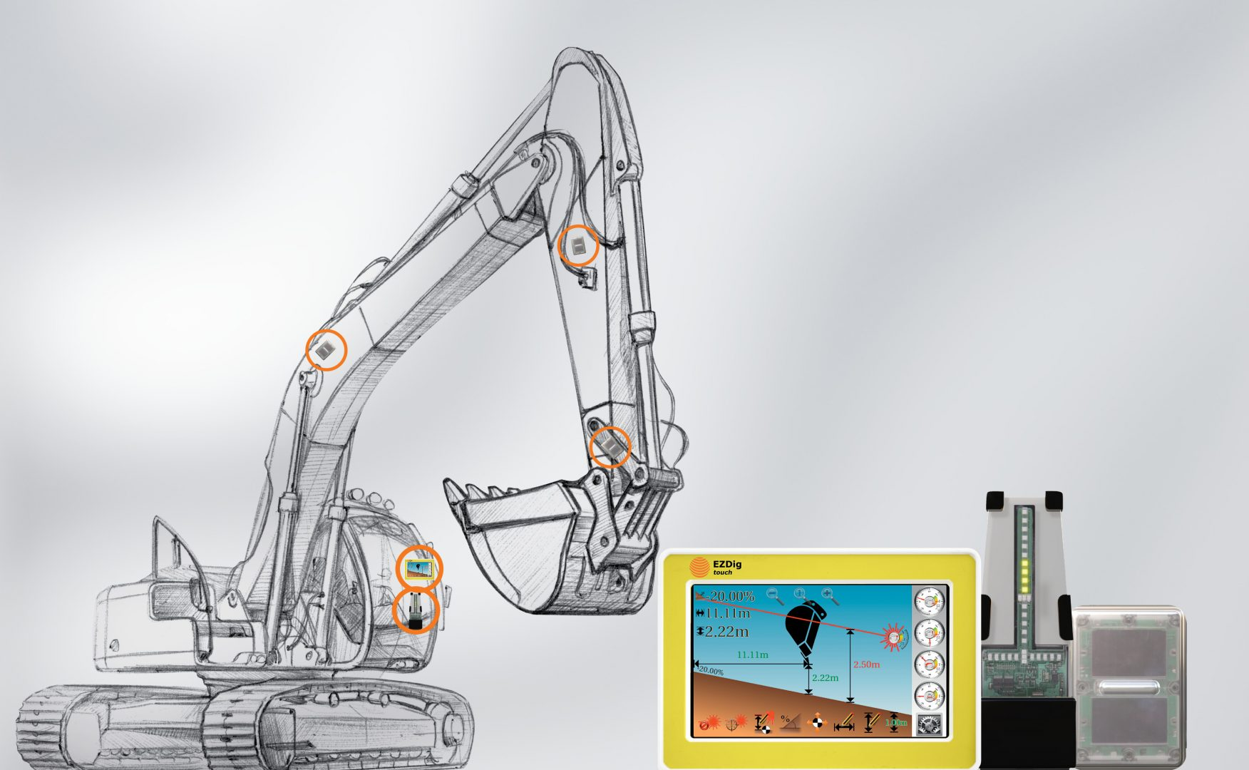 GeoMax EzDig 1D S Excavator Guidance System